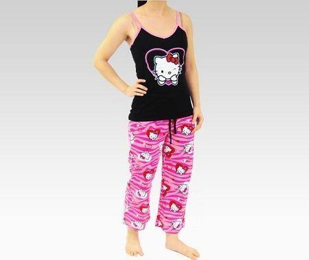 pijamas hello kitty largo corazones