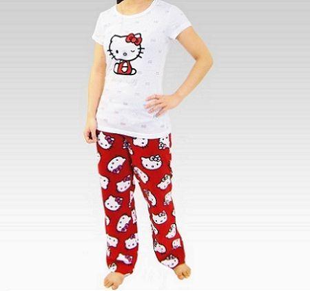 pijamas hello kitty largo rojo