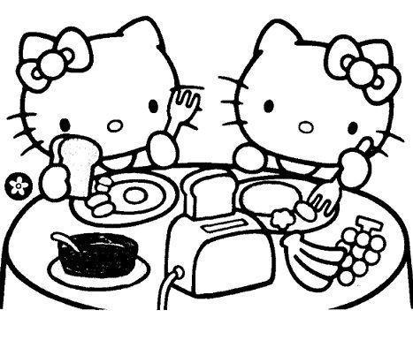colorear hello kitty desayunando