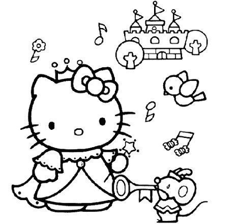 colorear hello kitty princesa