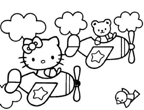 colorear hello kitty volando
