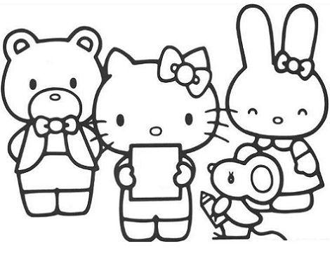 dibujos colorear hello kitty amigos