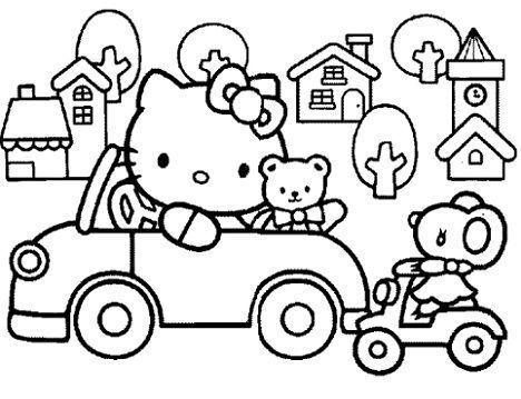 dibujos colorear hello kitty conduciendo