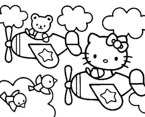 dibujos hello kitty imprimir avion