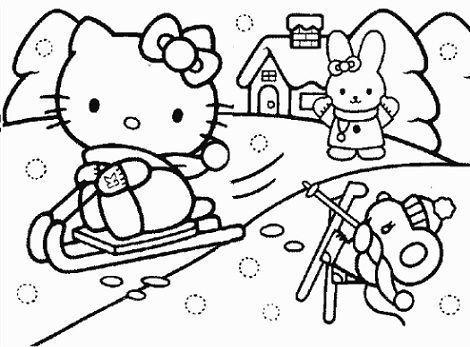 dibujos hello kitty imprimir esquiando