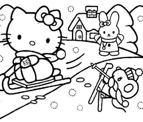 dibujos hello kitty imprimir nieve
