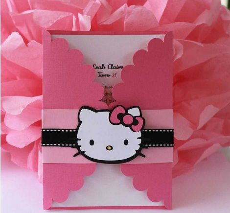 invitaciones hello kitty originales casera sobre