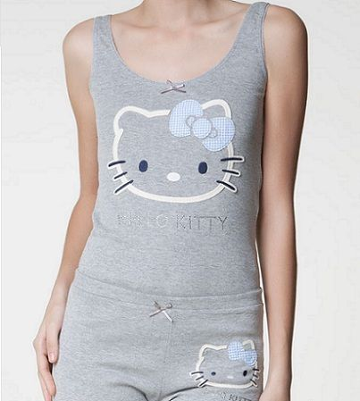 pijamas hello kitty oysho corto gris