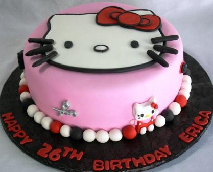 tarta hello kitty rosa negra