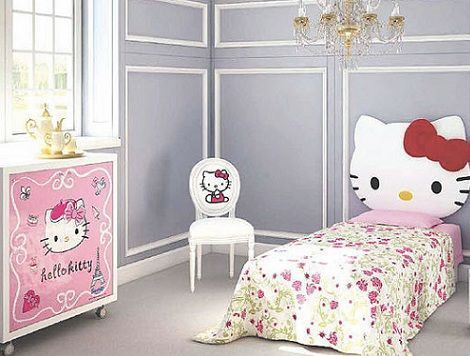 habitacion hello kitty cama