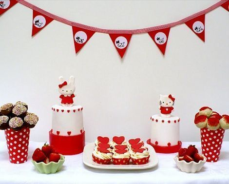 hello kitty cumpleanos mesa roja