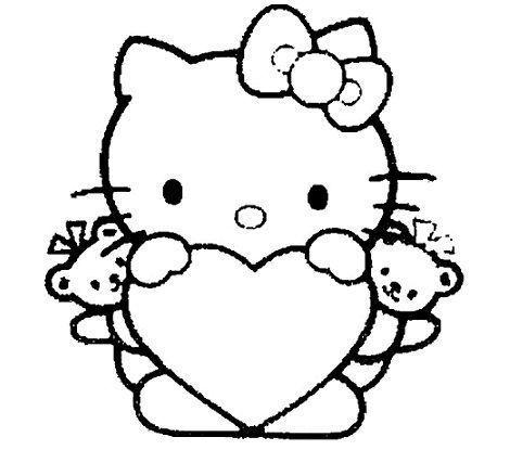 hello kitty para colorear corazon