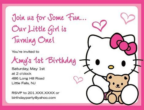 5 Invitaciones De Hello Kitty Para Cumpleaños Hello Kitty