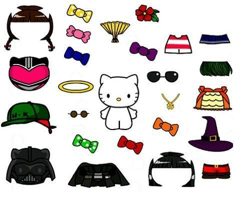 recortables hello kitty vestidos