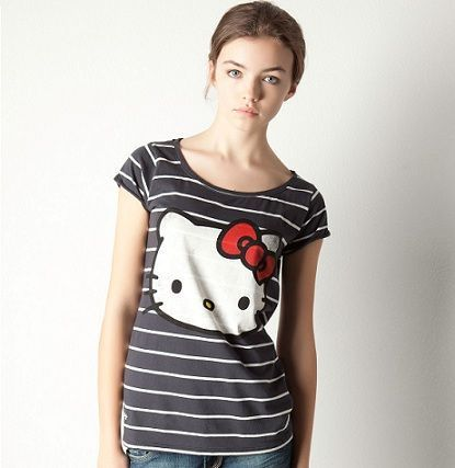 ropa hello kitty pull and bear camiseta rayas azul