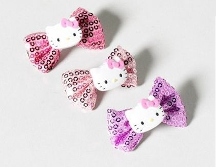 clips hello kitty pelo lentejuelas