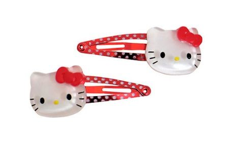 clips hello kitty pelo rojos