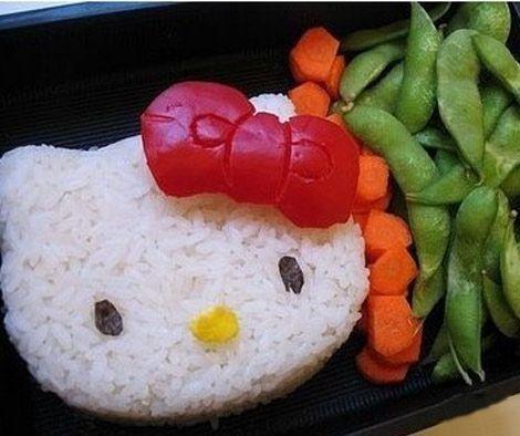 comida hello kitty arroz