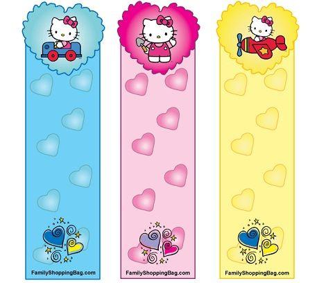 marcapaginas hello kitty colores
