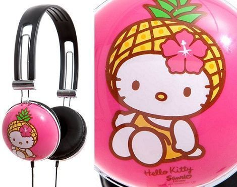 auriculares hello kitty rosa detalle