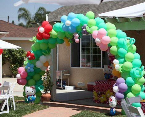 cumpleanos hello kitty jardin globos