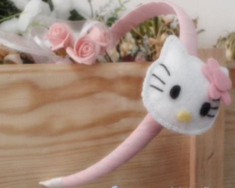 diademas fieltro hello kitty rosa