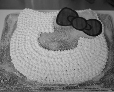 hacer una tarta de hello kitty cara