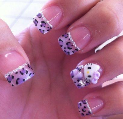 unas decoradas hello kitty leopardo