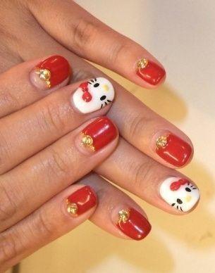unas decoradas hello kitty rojas
