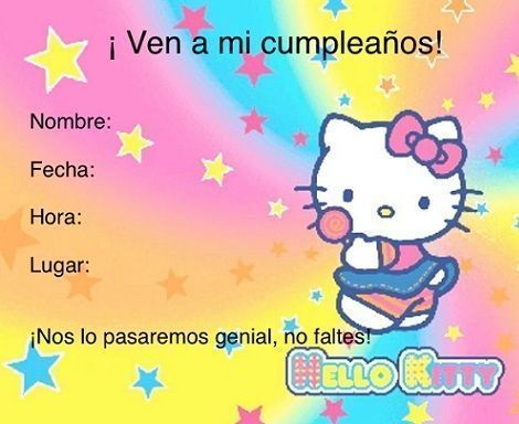Invitaciones de Hello Kitty cumpleanos arcoiris