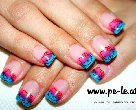 nail art hello kitty colores
