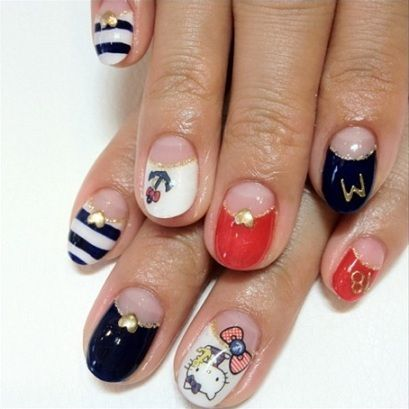 nail art hello kitty navy