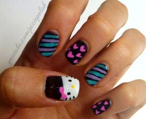 nail art hello kitty rayas