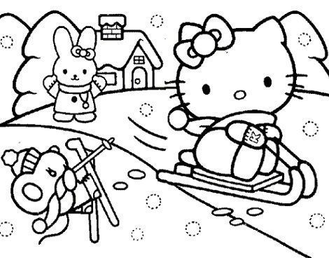 colorear hello kitty navidad