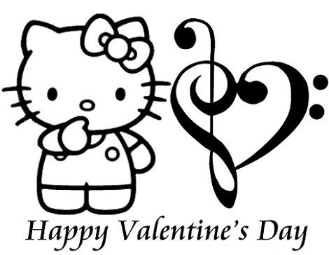 Dibujos de Hello Kitty de San Valentín para imprimir