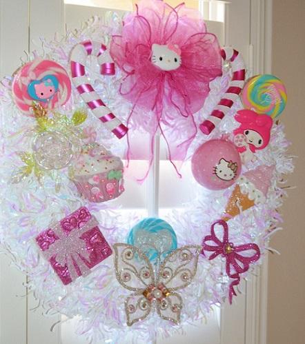 corona de navidad de Hello Kitty