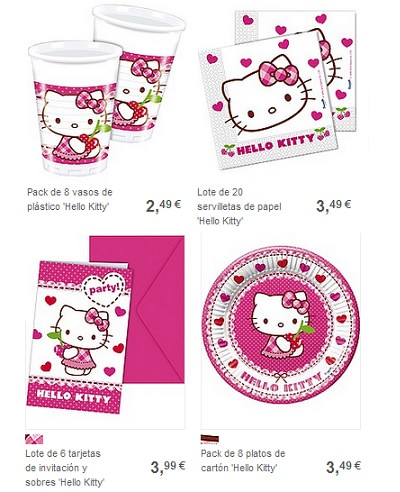 platos y vasos de fiesta de hello kitty