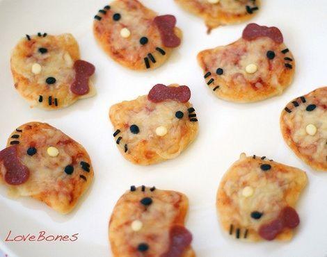 mini pizzas de hello kitty