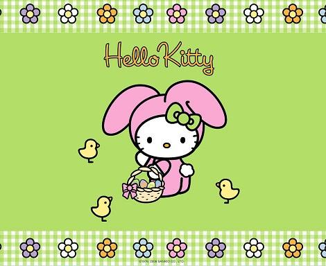 fondo de escritorio de hello kitty de pascua