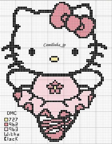 8 patrones de hello kitty a punto de cruz