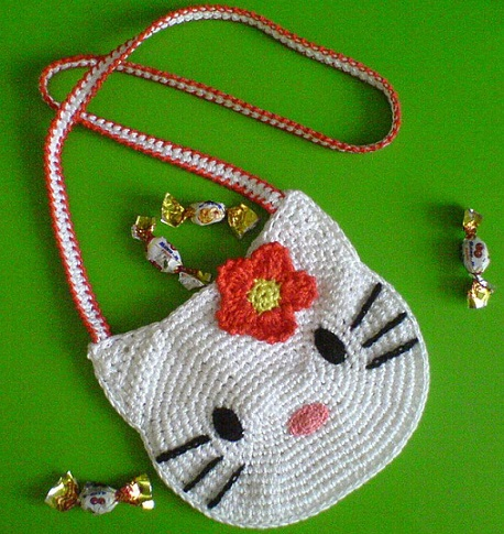 como hacer un bolso de crochet de hello kitty paso a paso