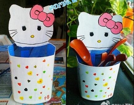 Cómo hacer un lapicero de Hello Kitty con una botella de plástico