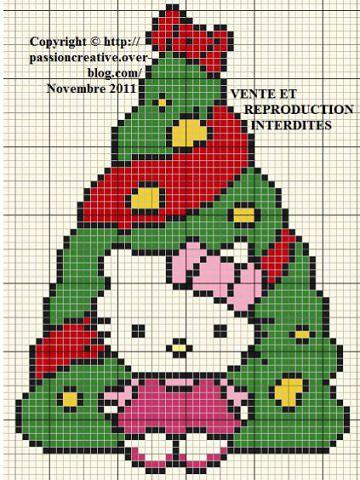 patrones de hello kitty a punto de cruz arbol navidad