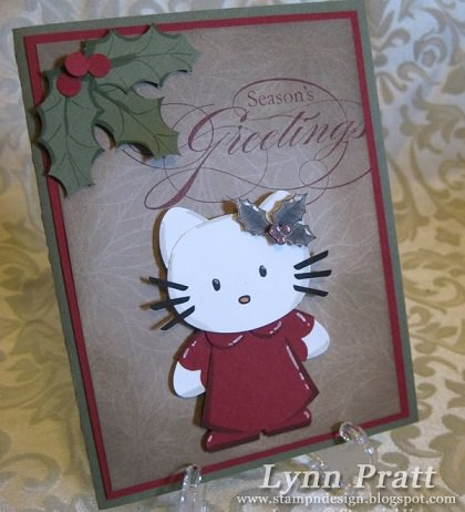 como hacer una postal de navidad de hello kitty casera