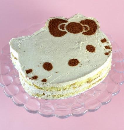 como hacer una tarta de tiramisú de Hello Kitty