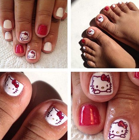 Uñas pintadas de hello kitty