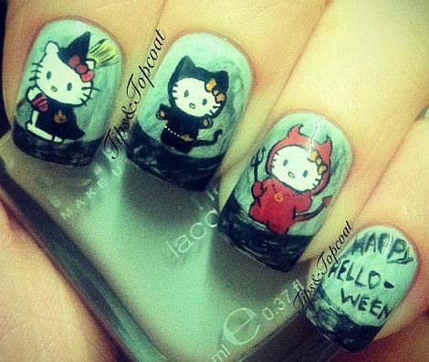 uñas de hello kitty muñecas para halloween